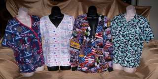 Lot 4 Nurses Scrubs Tops medium 4th of July NASCAR more