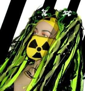 Neon Yellow Nuke Hazard Symbol Surgical Cosplay Mask