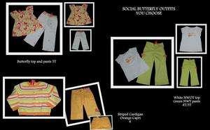 Gymboree GIRLS SOCIAL BUTTERFLY Top Capri Pants Cardigan 4 4T 5 5T NWT