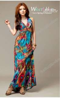 Womens Sexy Long Maxi Dress Beach Cocktail Evening Summer Multi Color
