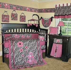 Baby Boutique   Pink Zebra 15 PCS Crib Bedding Set