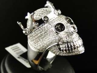 FINISH REAL XXL SKULL BLACK/WHITE DIAMOND DESIGNER RING 4 CT