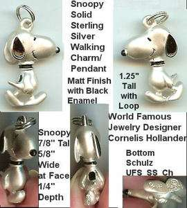 SNOOPY Walking Solid Sterling Silver Pendant/Charm