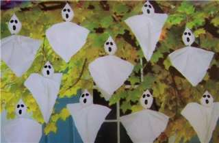 HALLOWEEN HANGING GHOSTS CRAFT PROJECT KIDS SET 10 FUN & EASY