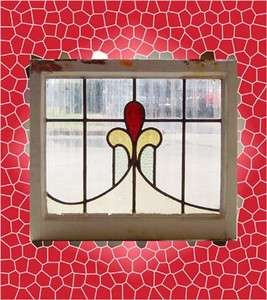 Large Antique Stained Glass Window 3 color Ruby Tulip