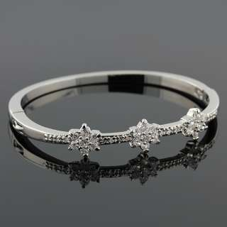 Stainless Steel Silver Tone White Crystals CZ Womens Bangle Bracelet