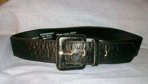 Womens Black Ostrich Embossed Wide Leather Belt USA M