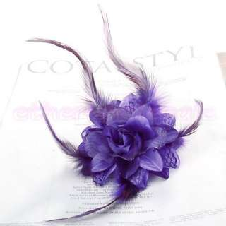 Boutique Flower Feather Hair Pin Brooch Bracelet 6 Colors U Pick