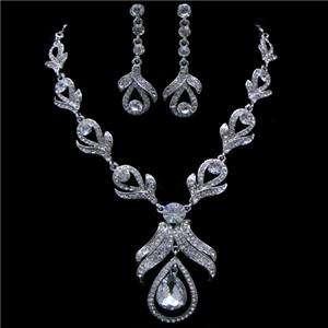 Teardrop Earring Necklace Set Swarovski Crystal Bridal