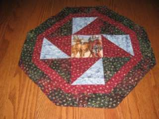 Handmade Table Runner Topper Christmas snowflakes Santa