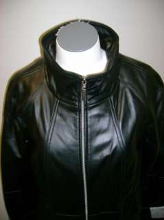 Centigrade Lamb Leather Coat w/Removable Faux Fur Black