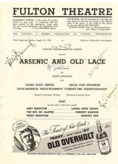 ERICH VON STROHEIM LAURA HOPE CREWS ORIG 1942 SIGNED ARSENIC + OLD