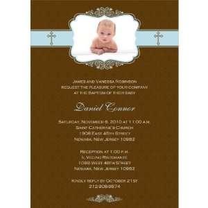 Graceful Elegance with Crosses Boy Photo Baptism Invitations   Set of