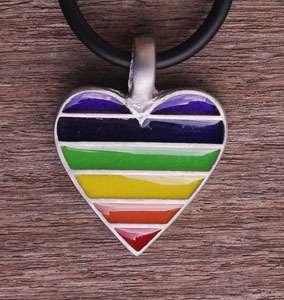 Rainbow Heart Amulet Pewter Pendant w Black Necklace