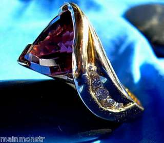 diamond trillion cut red rhodolite garnet designer ring