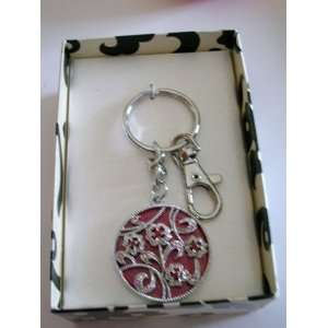 Ornate Flower Pattern Red Key Ring