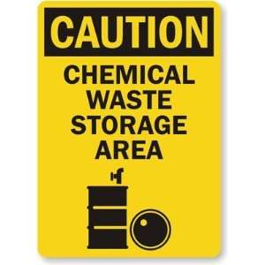 Chemical Waste Storage Area (with graphic) Plastic Sign, 10 x 7