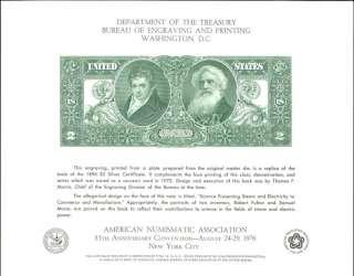Mint BEP Souvenir Card B38   Two Dollar Note   ANA 76