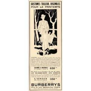 1935 French Ad Burberry Vintage Spring Coat Art Deco