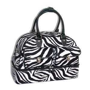 NEW BLACK/WHITE ZEBRA TOTE DUFFLE BAG LUGGAGE DANCE GYM