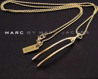 NEW AUTHENTIC MARC JACOBS GOLD WISHBONE NECKLACE