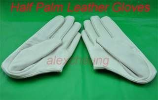 White Fashion 5 Fingers Half Palm Leather Gloves M L