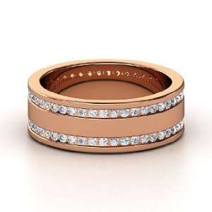 Double Happiness Band, 14K Rose Gold Ring with Diamond Jewelry