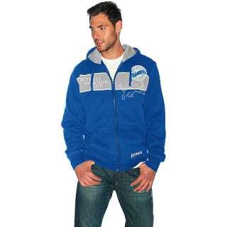 III Detroit Lions Full Zip Sueded Fleece Hooded Sweatshirt