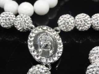 Swarovski Crystal Shamballa Rosary Chain Necklace New 28+7 Inch