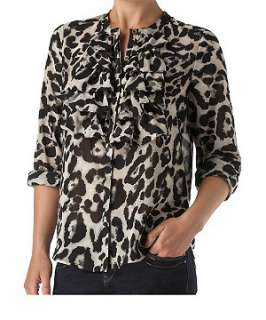 Black Pattern (Black) Sisters Point Ruffle Front Shirt  236942809