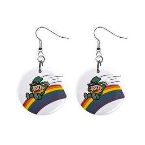 Irish Leprechaun Rainbow St Patricks Day Dangle Earrings