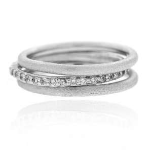 Cubic Zirconia Brushed Stackable Eternity Wedding Band Rings Jewelry