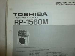 1976 TOSHIBA Radio/PSB RP 1560M Original SERVICE MANUAL