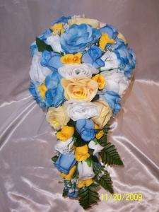 Bridal Bouquet Package Blue Yellow Wedding Flowers Bridesmaid Bouquet