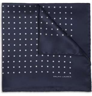 Ralph Lauren Black Label Polka Dot Silk Satin Pocket Square  MR