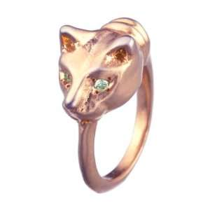 Cat Ring in Rose Gold Over Brass with Light Green Sapphires Jewelry