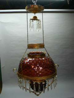 ANTIQUE VICTORIAN HANGING OIL LAMP RUBY GLASS HOBNAIL SHADE AND FONT