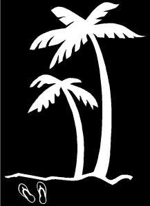 Palm Trees & Flip Flops Vinyl Window Decal 11.5H