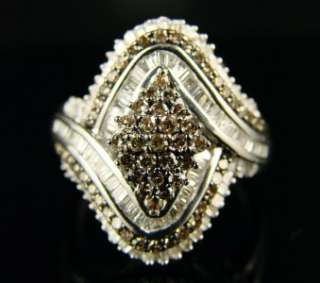 LADIES/WOMENS XL CHOCOLATE DIAMOND BAND RING 1.25CT