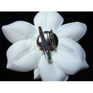 White Ivory Magnolia Flower Hair Clip and Pin Back Brooch