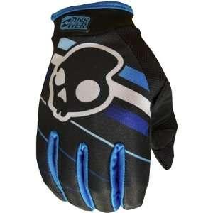 Racing Skullcandy EQ Mens MX Motorcycle Gloves   Black/Blue / Large