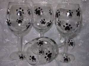 Dog Cat Paw Print Hand Painted Wine Glasses Set of 4