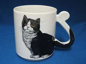 Black White Cat Kitten Mug Cup Tail Handle Japan Unique Animal