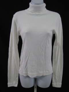 DOT White Turtleneck Long Sleeve Shirt Top Sz L