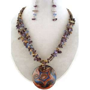 Fashion Jewelry ~ Purple Murano Glass Chipped Stones