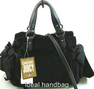 NWT JUICY COUTURE NEON $188 MISS DAYDREAMER VELOUR PINK BLACK BAG