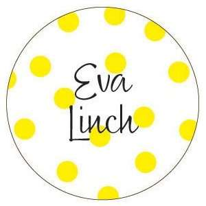 Yellow Polka Dot Personalized Mirror Baby