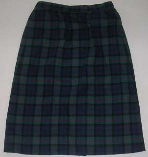Pendleton Petite vintage tartan plaid skirt navy blue green womens