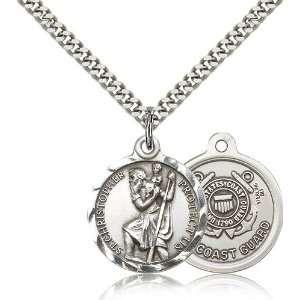 .925 Sterling Silver St. Saint Christopher Medal Pendant 7