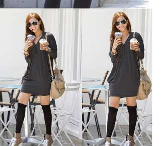 Fashion Women Ladies Batwing V neck Loose Long Tops T shirt Black Gray